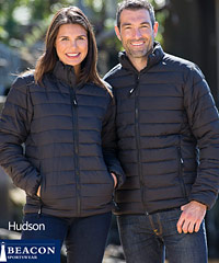 Corporate Puffer Jackets with Logo Embroidery Service, Beacon Sportswear Style #Hudson. Sizes XXS to 3XL and 5XL. Matching Puffer Vest also available Style #Loma. Great Appearance. Great Value. Sample loan service is available. For corporate enquiry please call Renee Kinnear on FreeCall 1800 654 990.