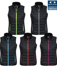 Puffer Vest in Team Colours, #J616M, # J616L. Promotional and Sport Industry favourites, 5 colour combinations, Black, Red, Silver, Lime, Cyan Blue. Mens and Ladies sizes. Sporty appearance with comfortable fittings. Hi-Loft polyfill inside for warmth. Wear outdoors or inside for company uniforms in the office, gym, Leisure Centre, etc.
