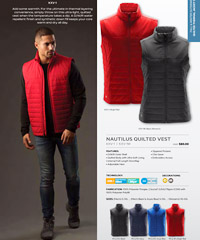 Stormtech Quilted Vest with logo service for Corporate, Company and Sports Outerwear. Mens and Womens in Black, Navy, Azure Blue and Red. Insulated and Showerproof Vest provides versatility and comfort. many features with Ultra Soft Lining, Internal full length storm flap, Zippered pockets, Chin Saver