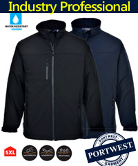 Ideal out and about Jacket for Business Uniforms and Workwear. Portwest Softshell jacket #TK50 features advanced triple layer technology, for warmth, stretch comfort and professional industry appearance. Available Black, Navy, 6 Pockets, Waterproof Zips, Breathable fabric, windproof and water resistant. Phone Pocket, touch tape cuffs for a secure fitting bloack out cold wind. Microfleece lining. Black S-5XL and Navy S-3XL For details FreeCall 1800 654 990.
