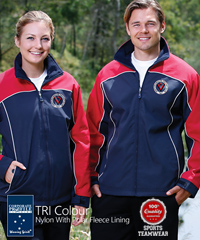 Inspect a Sample of Cascade Jacket With Fleece Lining #JK22 With Corporate Logo Service, available in 3 Colour combinations Navy/Red/White, Black/Grey/White, Navy/White/Silver. Features a hard wearing Nylon Shell with micro fleece lining. Sizes XS-3XL. Adjustable cuffs, wind and showerproof. Comfortable to wear and great appearance. For all the details the best idea is to call Renee or Shelley Morris on FreeCall 1800 654 990.