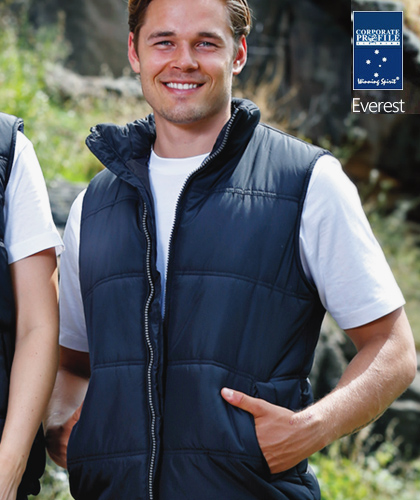Everest Mens Vest for Workwear, Sport and Recreation #JK47 With Logo Service. Light, versatile Pongee outer shell with polyester inners. Chunky front zipper.