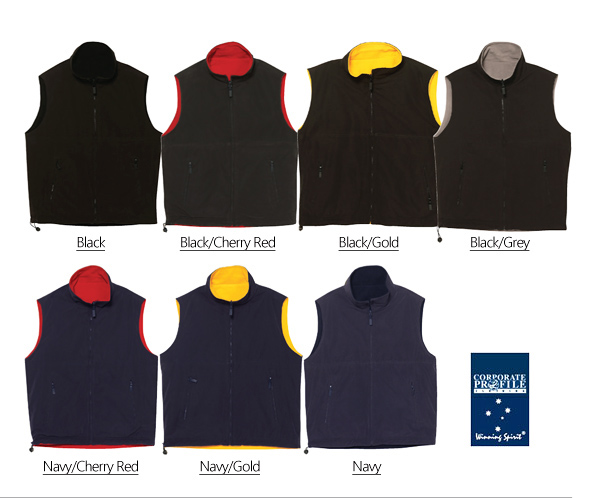 Mariner Outerwear Vest #PF04A Product Colour Card.With Logo Embroidery Service. The Vest has a Showerproof Microfibre Shell on one side with warm Polar Fleece lining on the reversible inside. There are hidden zips in both side seams for invisible logo embroidery access. Size label in front left pocket. A favourite, versatile style for Workwear, Sporting and Recreational activities. Great value, Sizes XS to 3XL. For all the details please call Renee Kinnear or Shelley Morris on FreeCall 1800 654 990.