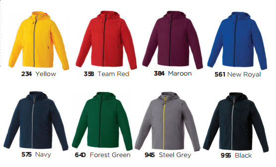 Product Colour Card for Elevate Flint Jacket #12604 and Ladies #92604 With Logo Service. Available in 8 Sport Industry colors, Yellow, Red, Steel Grey, Team Red, Forest Green, New Royal, Navy, Maroon and Black. Flint Jacket has technical know-how built right in with 100% Polyester 240T woven with a 600 mm water resistant coating. It also features a CF exposed #5 contrast reverse coil zipper, interior zipper flap with chin guard and diminishing reflective piping at back shoulder.