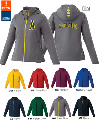 Elevate Flint Jacket #12604 and Ladies #92604 With Logo Service. Available in 8 Sport Industry colors, Yellow, Red, Steel Grey, Team Red, Forest Green, New Royal, Navy, Maroon and Black. Flint Jacket has technical know-how built right in with 100% Polyester 240T woven with a 600 mm water resistant coating. It also features a CF exposed #5 contrast reverse coil zipper, interior zipper flap with chin guard and diminishing reflective piping at back shoulder.