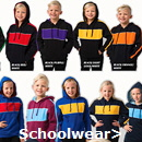 Schoolwear and Kids Sport Uniforms and  Gear in Team Colours, including Hoodies, T-Shirts, Caps and Jackets