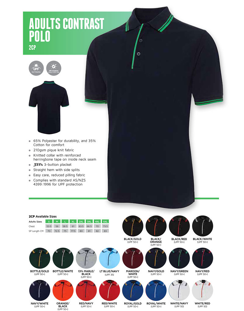 Best in Basic Polo Shirts-Contrast Polo (2CP) Colour Card for 2016 features 20 Colourcombinations. Fabric is 65 Polyester for durability and 35 Cotton for comfort.210gsm pique fabric is comfortable to wear, easy to wash and dry, and has reduced pill treatment. Knitted collar with reinforced herringbone tape on inside of the neck seam gives the shirts a professional uniform finish. The sleeves have smart knitted cuffs, the waist has herringbone tape to reinforce the side splits. Complies with standard AS/NZS 4399: 1996 for UPF protection. For all The details please call Renee Kinnear or Shelley Morris on FreeCall 1800 654 990