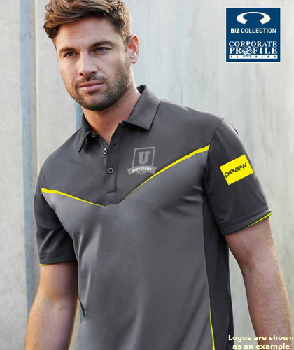 Inspect a sample of the super charged Victory Polo Shirt #P606MS, Ladies #P606LS. Logo embroidery service is available. 6 Colours including Grey-Fluoro, Black/Grey/Red, Grey/Silver Orange. . Made from high performance BIZ COOL sports interlock,