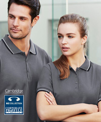 Inspect a Sample of this cool fashion style Cambridge Polo #P227MS and Ladies #P227LS With Logo Service. The collar and cuffs feature two contrast stripes in collar and arm cuffs. The fabric is comfortable 50% Cotton 50% Biz Cool, 170gsm, with Australian Standard UPF Rating of GOOD. You will enjoy wearing this polo and the appearance for uniforms and teamwear is excellent. 7 Colour combinations. Ladies sizes 8-24 and Mens S-5XL. For all the details please call Renee Kinnear or Shelley Morris on FreeCall 1800 654 990.