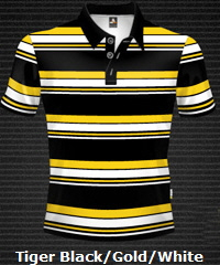 Black-Gold-White-Club-Stripe-Polo-Shirt-#8296