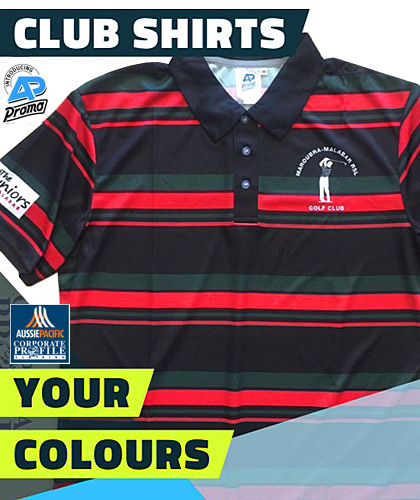 Stripe Shirt in Your Club Colours #8296 Custom Order Service. The shirts are printed so you can select the Colours, Club and Sponsor Logo's. We supply coordinated sportswear for ON and Off The Field. For details the best idea is to FreeCall 1800 654 990