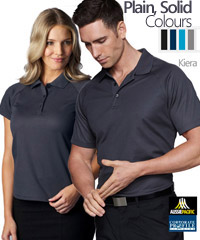 A good choice for business uniforms the Keira Polo #1306 is available in 5 plain, solid colours. The shirts feature Cotton on the Inside of The Fabric so there is more comfort for the wearer. White, Black, Navy, Pacific Blue and Navy with Logo Service, for all the details the best idea is to call Renee Kinnear or Shelley Morris on FreeCall 1800 654 990.