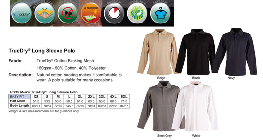 Long-Sleeve-Polo-Shirts-#PS35-True-Dry-Colour-Card