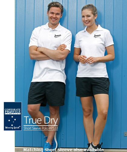 True Dry Short Sleeve Polo Shirt #PS33 With Logo Service. High performance polo shirts has a great fit and appearance for Work Uniforms and Teamwear.The fabric is really great to wear. True Dry material is a combination with 60% Cotton on the inside of the shirt which is comfortable against your skin and provides some body insulation in cold weather to keep you warmer. The #PS33 True Dry Long Sleeve Polo is available Mens and Womens, Black, Navy, White, Steel grey and Beige (pictured). To inspect a Sample please call Renee Kinnear or Shelley Morris on FreeCall 1800 654 990.