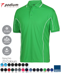 Podium Piping Polo #7PIP Mens With Logo Printing Service. The Best in Basics polo shirt for durable Work Shirt performance, Sport Club and School wear. Fantastic quality Podium Cool moisture wicking fabric helps to keep you cool and dry in hot and humid weather. Complies with Australian Standard AS/NZS 4399:1996 Quick Drying, 100% Polyester, No Ironing, 160 gsm.Womens #7LPI and School Kids #7PIPS. 20 Colours available. Extensive range of Sizes. Corporate Sales FreeCall 1800 654 990