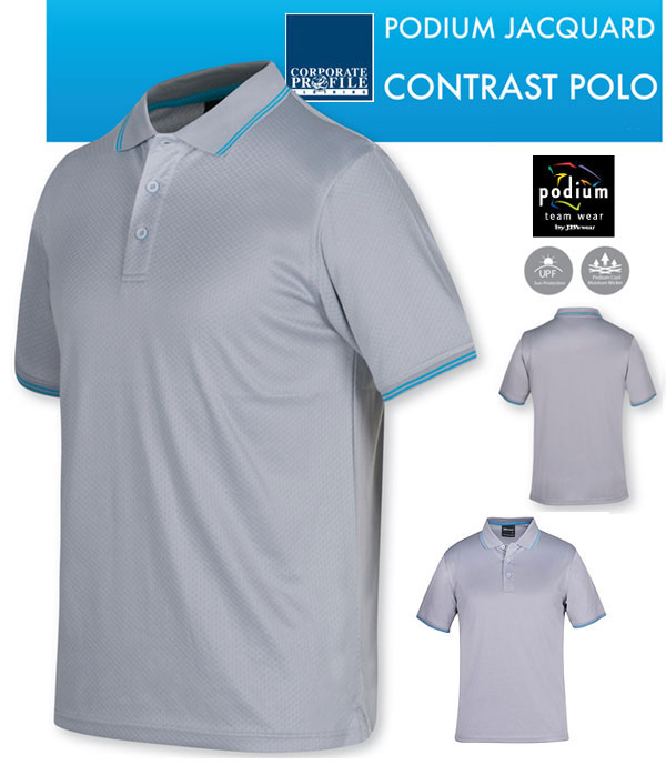 Podium Jacquard Contrast Polo #7JCP with Logo Service. Modern new style for Business and Sport Industry with lightly textured fabric. Nine colour combinations. Top class fabric is 160gsm jacquard knit with moisture wicking breathability, UPF Compliant Sun Protection. Tremendous colours include light grey, charcoal, navy, white, aqua, black, gunmetal with contrast trims. Corporate Sales please call Renee Kinnear on FreeCall 1800 654 990