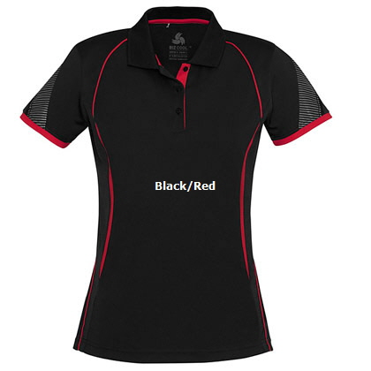 Womens Sport Polo #P405LS_Black_Red 420px
