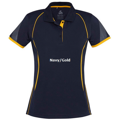 Womens Sport Polo #P405LS_Navy_Gold 420px