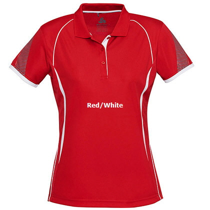 Womens Sport Polo #P405LS_Red_White 420px
