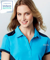 Biz Collection, Rival Polo Womens #P705LS With Logo Service, available in 12 team colours with bold contrast panels across the shoulders, sides, sleeve cuffs. Biz Cool breathable, lightweight 145gsm, meets Australian Standard UPF Ratings. Corporate Sales Call Free 1800 654 990