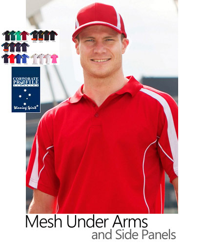 Best selling sports polo shirts #PS53 with underarm and side panel mesh for extra breathability. Panels across the arms and action piping along side panels. 160 gram. The inside of the polo is soft against your skin with a 60% Cotton high performance cool dry fabric. Mens, Ladies and Kids sizes. Great for Corporate Uniforms, Events, Sponsors, or Teamwear.