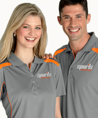 Grey and Orange Corporate Polo Shirts