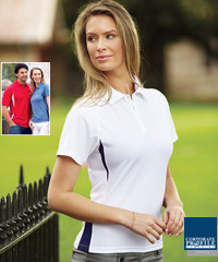 Premium quality corporate polo shirts. The Stencil Arctic Polo #1057 and Ladies #1157 with Logo service. Next generation Cool Dry fabric. Contrast colours with side panels at the waist design. White/Navy, Sandstone/Navy, Red/White, Dusty Blue/Navy, Navy/White, Black/Sandstone. Large range of Sizes. Stock service. Enquiries Renee Kinnear at Corporate Profile Clothing FreeCall 1800 654 990