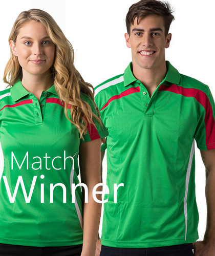 Emerald Red and White Polo's, corporate.com.au