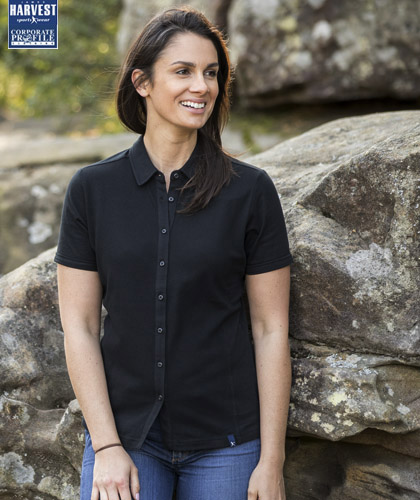 Unique ladies polo with a difference! Notice the fine jacquard front panels. 100 percent Cotton #2115001 available in Black and Navy. Ladies Polo has full button up front. Mens has button down collar with modern sleeve cut. Modern fit, S-3XL and 5XL, Ladies S-3XL FreeCall Leigh Gazzard 1800 654 990