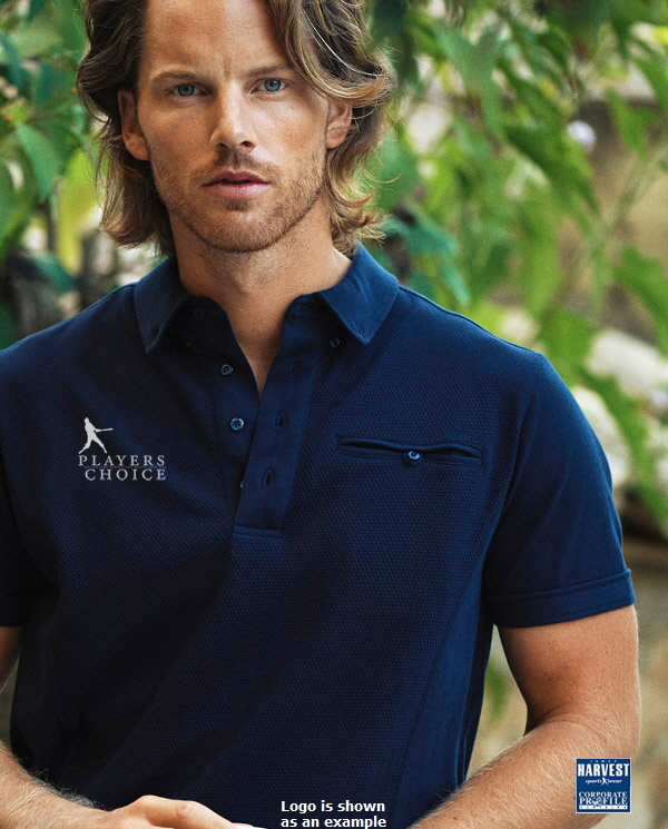 Unique fashioned front with button jet pocket, a polo with a difference! 100 percent Cotton #2115001 available in Black and Navy. Ladies Polo has full button up front. Mens has button down collar with modern sleeve cut. Modern fit, S-3XL and 5XL, Ladies S-3XL FreeCall Leigh Gazzard 1800 654 990