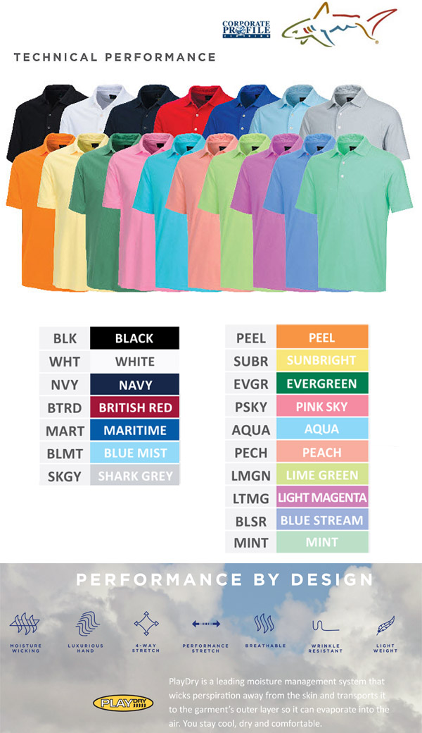 Have your Company or Club embroidered on Greg Norman Polo #G7S3K440. There are 17 colours available. Sizes SM-3XL. For all the details please contact Corporate Profile Clothing FreeCall 1800 654 990.
