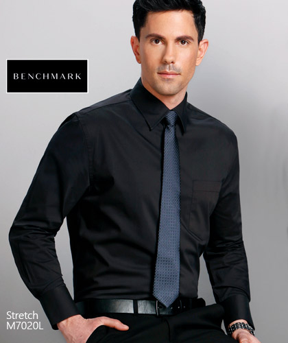 Inspect a sample of Mens Black Corporate Uniform Shirt #M7020L (Long Sleeve) With Logo Service. Spandex in the fabric makes this shirt very comfortable to wear. Easy To Iron, Low Minimum Order 20 pcs, Special Pricing. Mens and Ladies available in White and  Black. Corporate Sales Call Free 1800 654 990