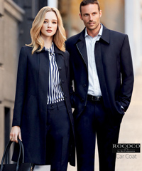 Mens and Ladies Corporate Coat #83830 With Logo Service, Overcoat Styled, Colour Midnight, Lined, Sizes XS-5XL. Made with Cavalary Twill , 50% Wool, 50% Polyester. Corporate Sales FreeCall 1800 654 990
