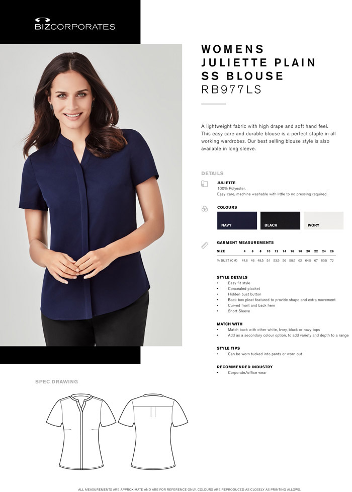 Womens Corporate Top Juliette #RB977LS Biz For Business
