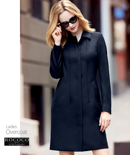 Ladies Corporate Coat Ladies #63830 and Mens #83830 With Logo Service, Overcoat Styled, Colour Midnight, Lined, Sizes XS-5XL. Made with Cavalary Twill , 50% Wool, 50% Polyester. Corporate Sales FreeCall 1800 654 990