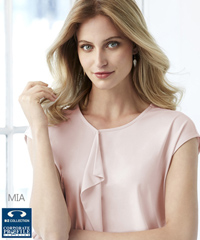 Biz Collection Mia Top With Pleat Fold #K624LS (Blush Pink) Womens Contemporary Uniform Top, with beautiful pleat fold detail, slightly offset to allow space for a company logo or badge if required. made from soft jersey knit that flatters without clinging. Enquiries FreeCall 1800 654 990