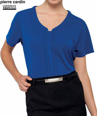 Pierre Cardin Womens Jersey Top #PCKS386 RYL With Logo Service..flattering womens top with longer length...a wonderful choice for Company and Business Employee Outfits...may be embroidered with logo, classic fit, 100% polyester, warm machine washable. Four colours, Black, White, Red, Royal. Corporate Sales Enquiry FreeCall 1800 654 990