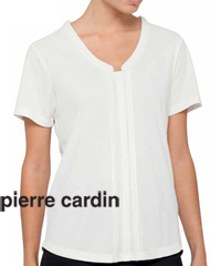 Pierre Cardin Womens Jersey Top #PCKS386 WHT With Logo Service..flattering womens top with longer length...a wonderful choice for Company and Business Employee Outfits...may be embroidered with logo, classic fit, 100% polyester, warm machine washable. Four colours, Black, White, Red, Royal. Corporate Sales Enquiry FreeCall 1800 654 990