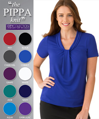 One of Australia's best selling Womens Uniform Clothing Products, the Pippa Top #2222 With Logo Service. Effortless Dressing, Cool and Comfortable. Matte jersey with a soft draped neckline. Features an elegant gatherered front. 10 Colours- Aqua, Grape, Red, Black, Navy, Charcoal, Jade, Cobalt, White, Dark Lilac. Bulk Order Enquiries FreeCall 1800 654 990