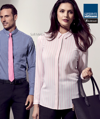 a9bef5cfe3d Long. Verona Stripe Shirt  43610 (Soft Melon) Ladies Corporate Shirt With  Logo Service.
