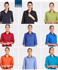 Outstanding Womens Shirts and Blouse range for Business, Healthcare and Company Uniforms. Colours include Teal, Perriwinkle, Pepper Red, Royal, Ocean, Rusty Orange, Navy, Black, Green Avocado. Three Quarter, Long and Short Sleeve options. Breathable, Comfortable. FreeCall 1800 654 990
